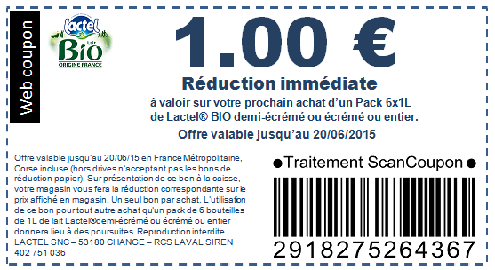Lactel bio bon de r duction de 1 euro mon quotidien - Bon de reduction atylia ...