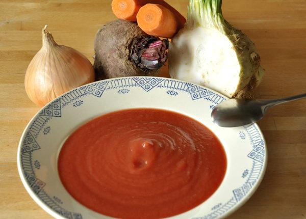 Velouté de céleri-carotte-betterave