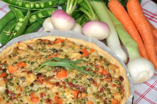 Tarte aux légumes primeurs
