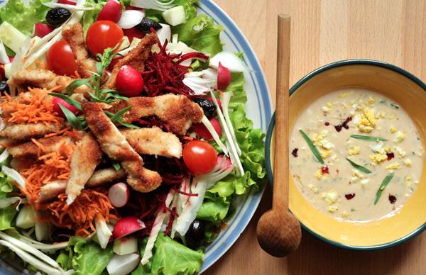 Salade crudités-poulet