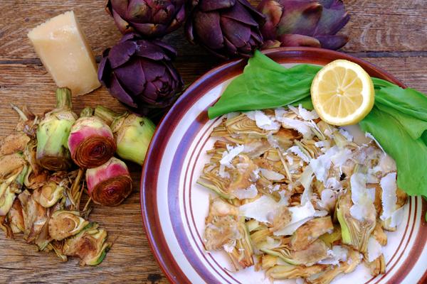 Salade de petits artichauts et parmesan