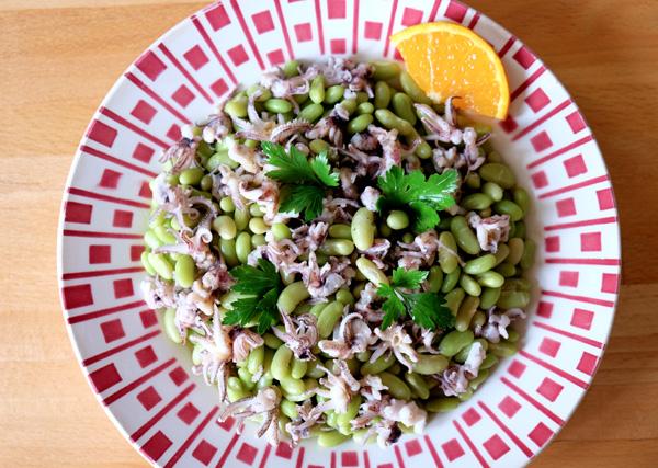 Salade d'encornets et haricots