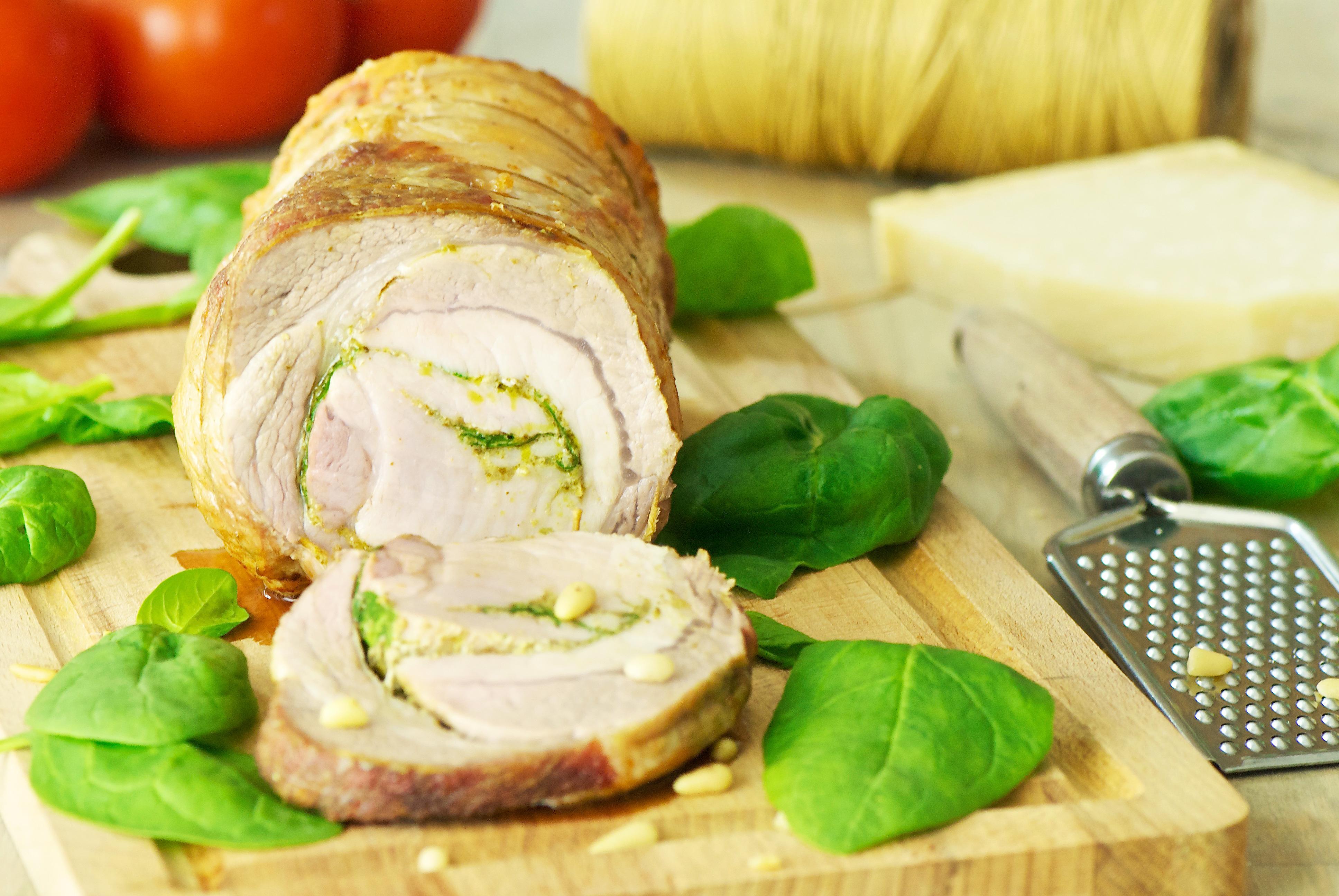 Rôti de porc roulé au pesto d'épinard