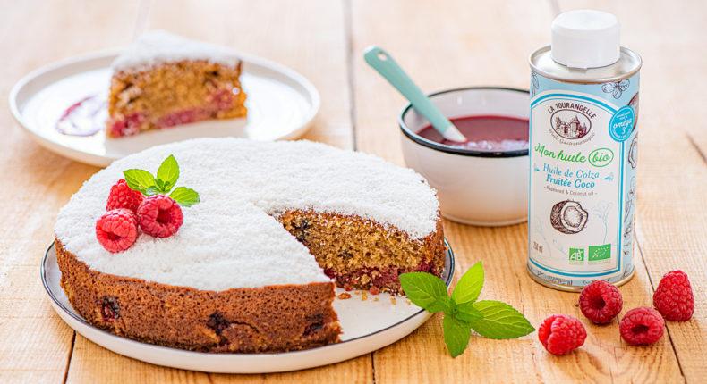 Gâteau au yaourt, framboise, coco et huile fruitée noisette bio - DR Mon Quotidien Autrement - E. Montuclard