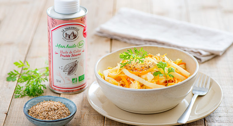 Salade de choux, carotte, sésame à l'huile de Colza Fruitée Sésame bio - DR Mon Quotidien Autrement - E. Montuclard