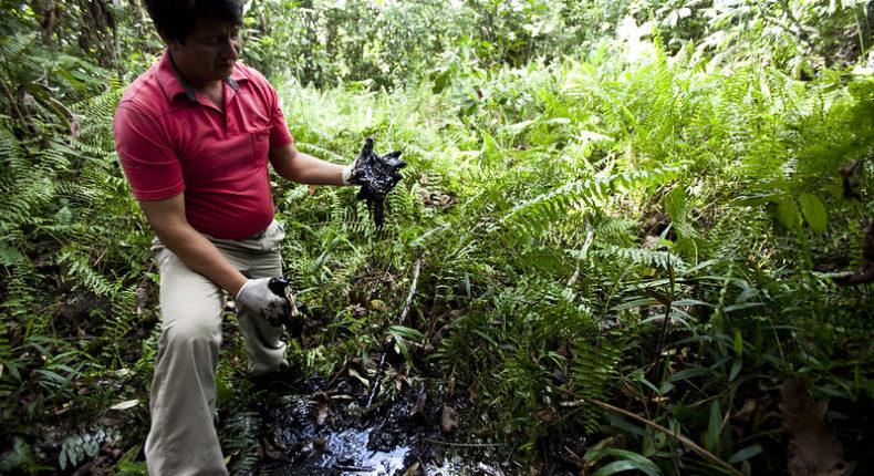 En Amazonie, l'entreprise Chevron a déversé des tonnes de pétrole dans la nature.